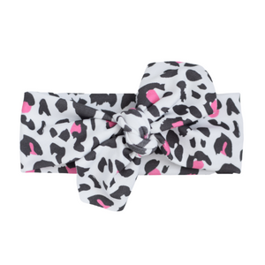 Organic Knotted Headwrap - leopard (pink)