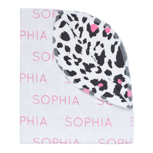 Personalized Double-Sided Organic Blanket - leopard (pink)