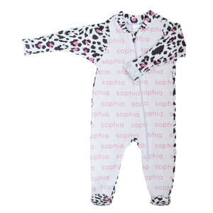 Personalized Zip Footie - leopard (pink)