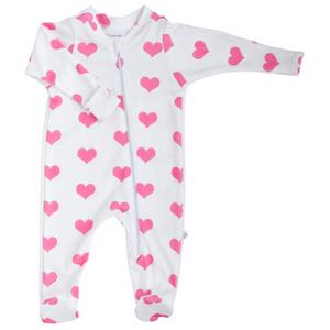 Zip Footie - hearts (2 colors)