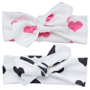 Organic Knotted Headwrap - hearts (2 colors)