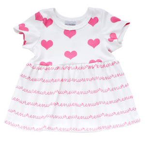 Personalized Sleeved Dress - hearts (2 colors)