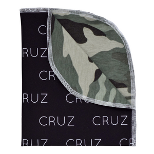 Personalized Double-Sided Organic Blanket - camo green