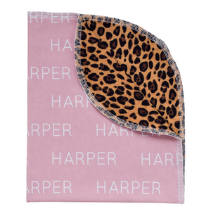 Personalized Double-Sided Organic Blanket - leopard (blush)