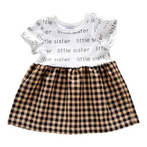 Little Sister Sleeved Dress - black gingham