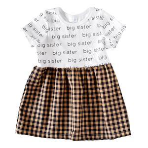 Big Sister Sleeved Dress - black gingham
