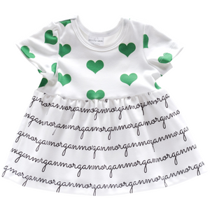 Personalized Sleeved Dress - hearts - St. Patrick's Day