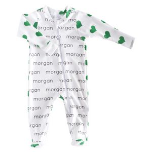 Personalized Zip Footie - hearts - St. Patrick's Day