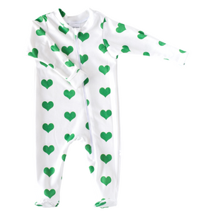 Zip Footie - hearts - St. Patrick's Day