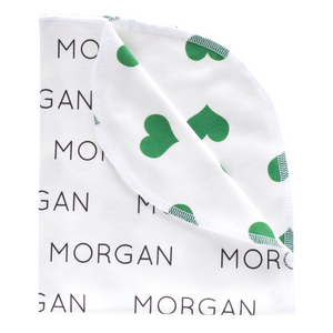 Personalized Double-Sided Organic Blanket - hearts - St. Patrick's Day