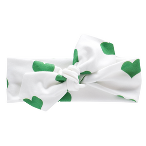 Organic Knotted Headwrap - hearts - St. Patrick's Day