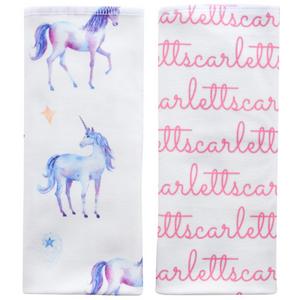 Personalized Double-Sided Burp Cloths / Unicorns / set of 2