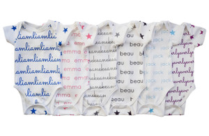 Personalized Organic Snapped Bodysuit - stars