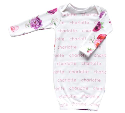 Personalized Organic Sleepie Gown - Peony