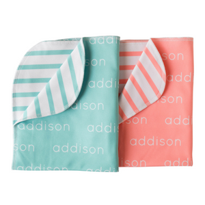 Personalized Double-Sided Polyester Blanket - mint & salmon (LIMITED EDITION)