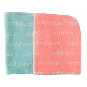 Personalized Polyester Blanket - mint & salmon (LIMITED EDITION)