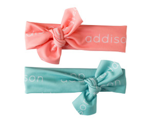 Personalized Knotted Polyester Headwrap - mint & salmon (LIMITED EDITION)