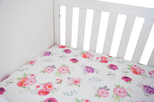 Organic Crib Sheet - peony