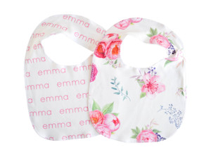 Personalized Organic Bibs / peony / set of 2