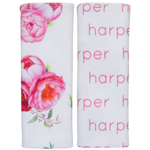 Personalized Double-sided Burp Cloths / Peony / set of 2