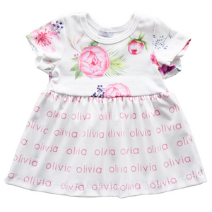 Personalized Sleeved Dress - peony