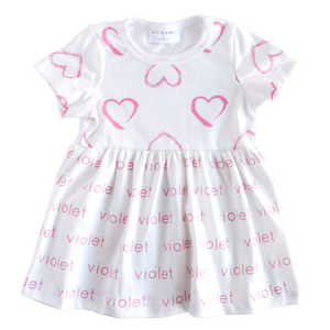 Personalized Sleeved Dress - watercolor hearts
