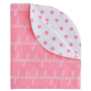 Personalized Double-Sided Polyester Blanket - polka dots (7 colors)