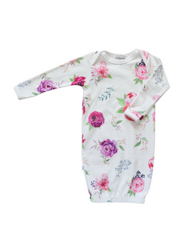 Floral Designs Organic Sleepie Gown - Peony