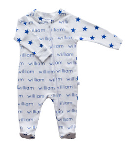 Personalized William Cobalt Stripe Zip Footie