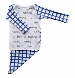 HENRY Personalized Navy Grid Gown (SALE)