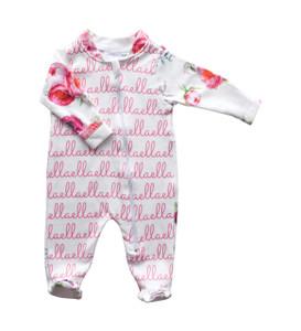 Ella Pink Peony Zip Footie (SALE)