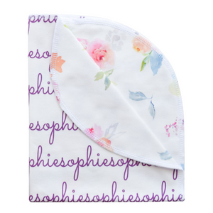 Personalized Double-Sided Organic Blanket - blooming garden