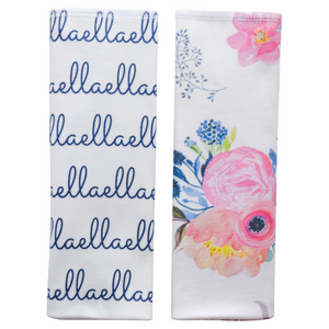 Personalized Organic Burp Cloths / midnight blush / set of 2