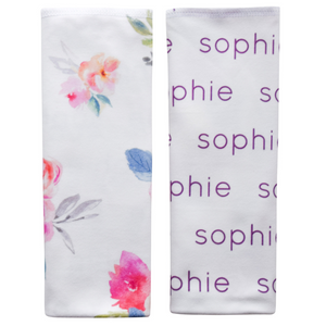Personalized Organic Burp Cloths / blooming garden / set of 2
