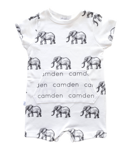 Personalized Pocket Shorts Romper - elephants