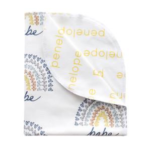 Personalized Double-Sided Organic Blanket - Rainbow Babe