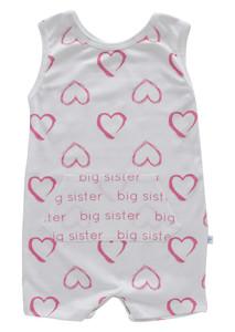 Tank Romper - big sister watercolor hearts pink