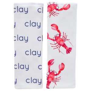 Personalized Organic Burp Cloths / lobsters / set of 2