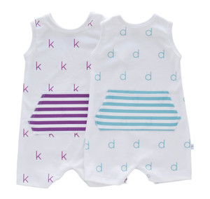 Personalized Pocket Tank Romper - initial  (purple/seafoam)