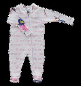 Little Sister Zip Footie - midnight blush