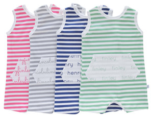 Personalized Pocket Tank Romper - stripes (4 colors)
