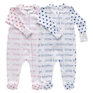 Little Sister/Little Brother Zip Footie - polka dots (7 colors)
