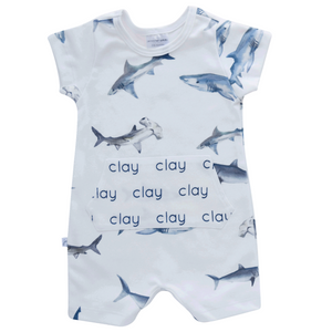 Personalized Shorts Pocket Romper - sharks
