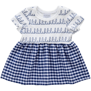 Personalized Sleeved Dress - navy gingham  (LIMITED EDITION)