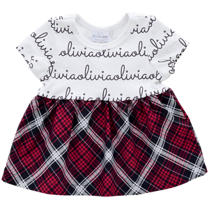 Personalized Sleeved Dress - holiday plaid  (LIMITED EDITION)