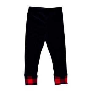 Joggers - black with buffalo plaid cuff