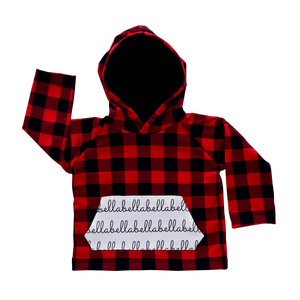 Personalized Pocket Hoodie - buffalo plaid with black hood