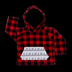 Personalized Pocket Hoodie - buffalo plaid with black hood