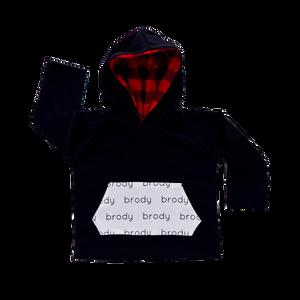 Personalized Pocket Hoodie - black with buffalo plaid hood
