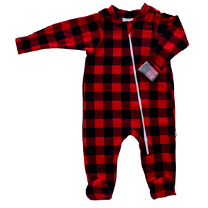 Zip Footie - buffalo check